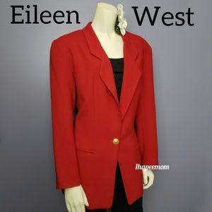 Eileen West Silk Long Red Blazer Vintage Jacket